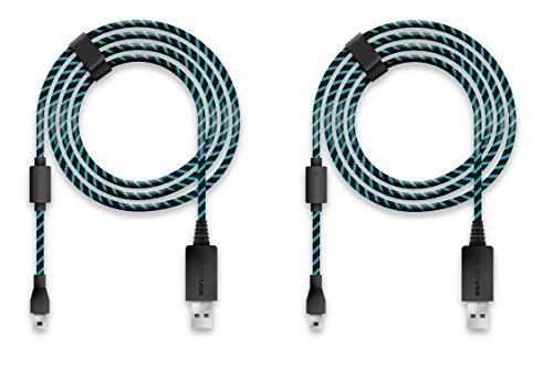 Lioncast 2x Câble de Recharge 4m / Câble USB/Câble de Manette pour PS4 et Xbox One, Xbox One X/Câble de Recharge 4 mètres/Câble Lioncast d'origine/Micro USB 2.0 - Bleu et Noir