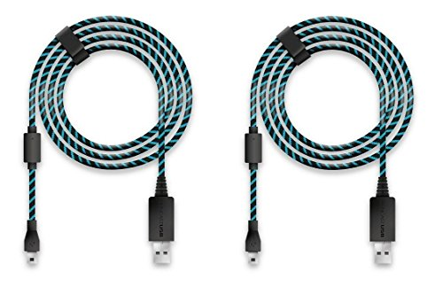 Lioncast 2X Cable de Recharge Manette pour Xbox One et PS4, 4 mètres, Micro USB 2.0 – Bleu et Noir