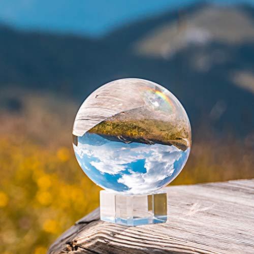 Hivexagon Sfera di cristallo K9 80mm, sfera di cristallo per fotografie con base di cristallo, sacca di velluto, panno in microfibra e scatola regalo HG565