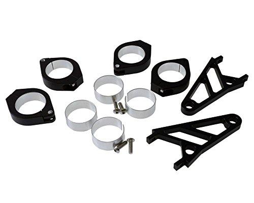 Lampenhalter Motorrad Highsider kurz CNC Alu Set für 35-37 mm Gabel,schwarz