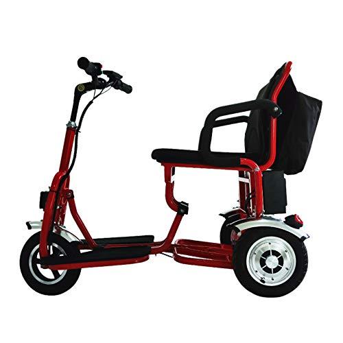 ZHAORU Silla de Ruedas eléctrica Ligera, 3 Ruedas, Scooter de Movilidad Plegable para Personas Mayores, batería de Litio Ligera, Largo Alcance