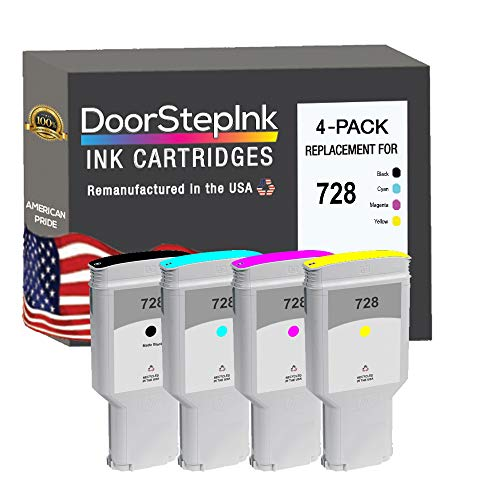 DoorStepInk Remanufactured in The USA Ink Cartridge Replacements for HP 728 300ml 4-PK B C M Y for Printers DesignJet T730 36-in Printer, DesignJet T830 24-in MFP, DesignJet T83036-in MFP