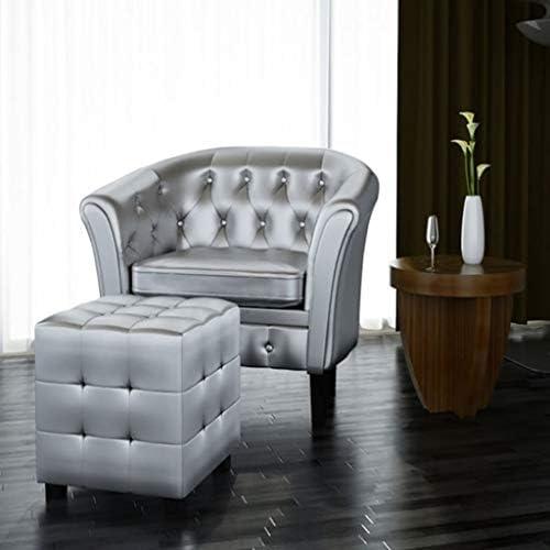 Best vidaXL Silver Tufted Tub/Barrel Design Armchair Club Chair Accent w/Ottoman Foot Stool