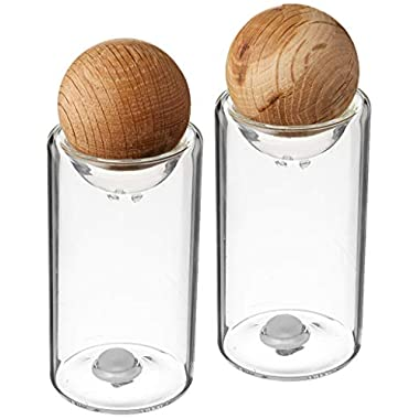 Sagaform Nature Collection Glass Salt and Pepper Shakers with Oak Stopper; 4 1/2-Inch, Set of 2
