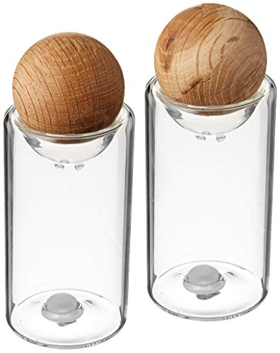 Sagaform Nature Collection Salt and Pepper Glass Salt & Pepper Shakers with Oak Stopper 4 1/2-Inch, Set of 2, Clear