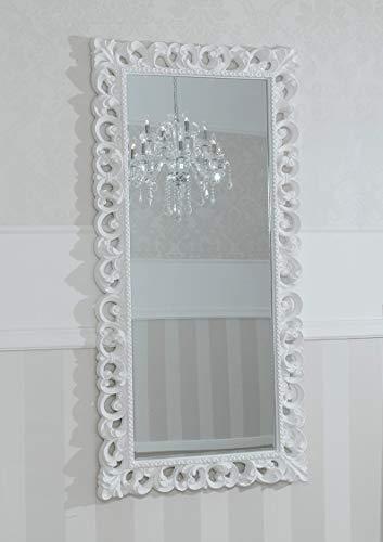 SIMONE GUARRACINO LUXURY DESIGN Miroir Luxe Zaafira Style Baroque Cadre perforé Blanc laqué Miroir biseauté 175 x 87 cm