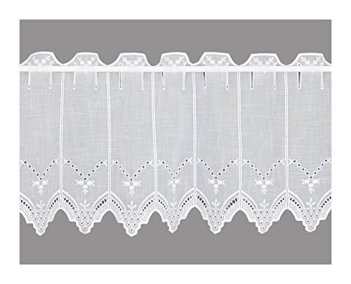 Charmante weiße Landhaus-Gardine Nele Scheiben-Gardine Plauener Spitze in 3 Höhen (Höhe x Breite: 55 x 160 cm)