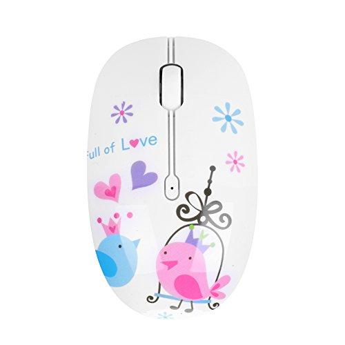 2.4G ratón silencioso inalámbrico ultra-mince con dibujo floral Pájaro Elégant DPI 1200Receptor óptico ergonómico perfecto para ordenador portátil PC blanco, color Blanc(oiseau) taille unique