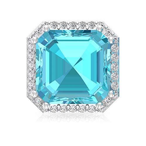 4,2 ct azul topacio suizo pendientes, forma de Asscher, declaración de piedras preciosas, certificado IGI, HI-SI Diamond Bridal Earrin,18K Oro amarillo, Única pieza