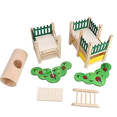 Chinchillas Wooden Chewing Toy Kit,Wooden Syrian Hamster Platform Easy Assemble Gerbils Bridge Safe to Chew Golden Bears Tube Toy by Sheens