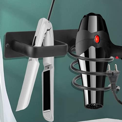 YKSSFFF Soporte para secador de pelo, sin agujeros, soporte para secador, de aluminio, multifuncional, montaje en la pared, accesorios de baño