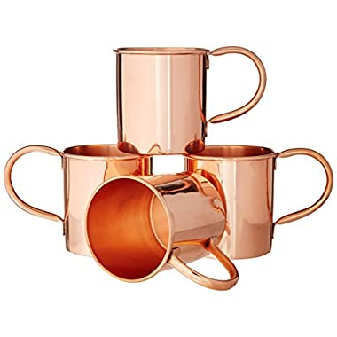 Moscow Mule Copper Mugs Set of 4 by Coppertisan - Handmade of 100% Pure Copper - Best Moscow Mule Mugs with Moscow Mule Recipes (Classic - Set of 4)