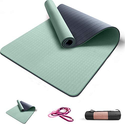 ZBK Yogamatte, 8 mm dick, zweifarbig, TPE, rutschfeste Yogamatte, erweiterte 80 cm, Fitnessmatte, 183 x 80 x 0,8 cm, 7 Farben (grün)