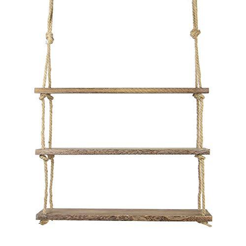 Hängendes Holzregal | Wandregal mit Seil | Boho Chic Regal |Regal Mit Rustikalem Jute Seil | Befestigung enthalten | M&W 3 Etagen