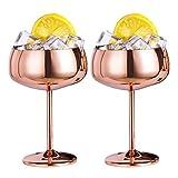 Fauge Bicchieri da Champagne nel Rame Set di 2 Calici da Vino Vintage nel Vetro da Cocktail Martini nel Acciaio Inossidabile