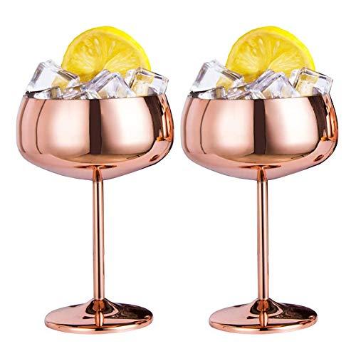 Fauge Copper Coupe Champagne Glasses Set of 2 Steel Vintage Martini Cocktail Glass Wine Goblet -  470179