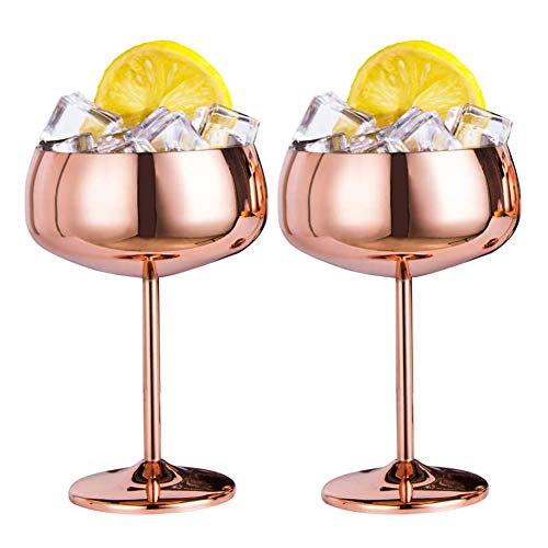 OVBBESS Copas de champán de cobre, juego de 2 copas de vino de acero vintage Martini