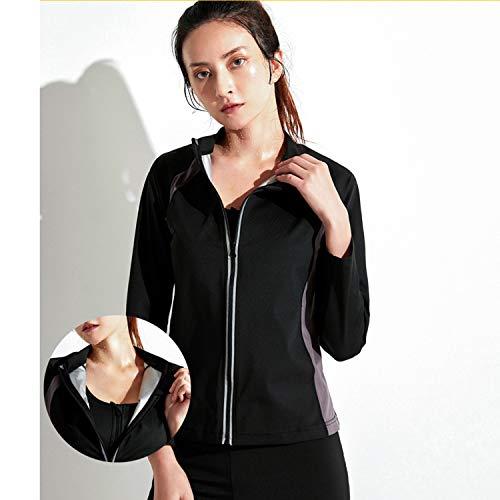 QLGRXWL Heavy Sweat Suit Women Hot Sweat Sauna Suit Reflective Jacket Sports Exercise Long Sleeve Zipper Weight Loss Exercise Coach,XL