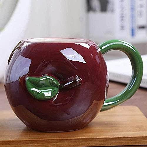 HUANYARI Kaffeetasse Champagner Glasgeschenk 450ml Kreative Obst Keramik Becher Nette Erdbeer Kaffeetasse mit Milchtasse Fruchtform Büro Tasse Tomaten-Apfel Evolution