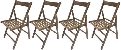 SF SAVINO FILIPPO 4 sedie Pieghevole Sedia birreria in Legno Noce Marrone richiudibile per Campeggio Ospiti casa Catering