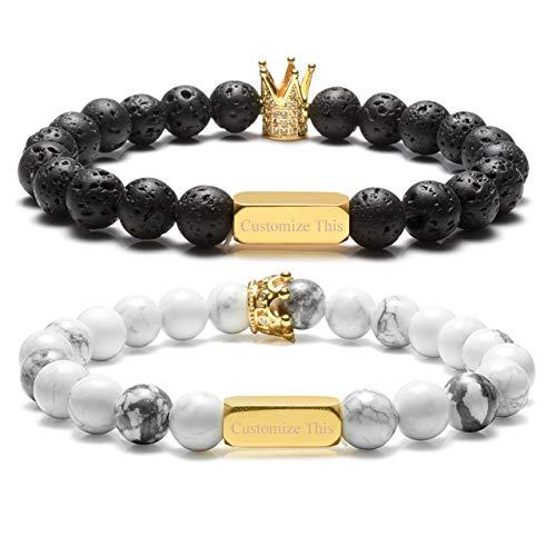Zysta Kundenspezifische Gravur- Paar Schmuck Set 8mm Lavastein/Weiß HowlitePartnerarmbänder König Königin Perlen Buddha Armband mit Goldem Rechteck für Pärchen Geschenke (set-ohne gravur)