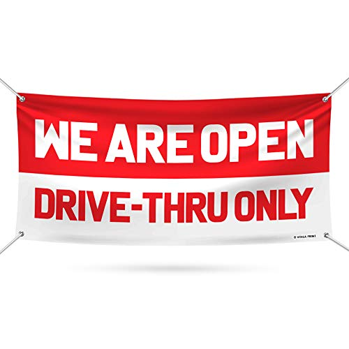 "We are Open Drive Thru Only Banner Sign - 13 oz Heavy Duty Drive Thru Only Vinyl Banner with Metal Grommets, B (24"" x 48"")"