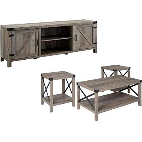 Home Square 4 Piece Farmhouse Barn Door TV Stand Console...