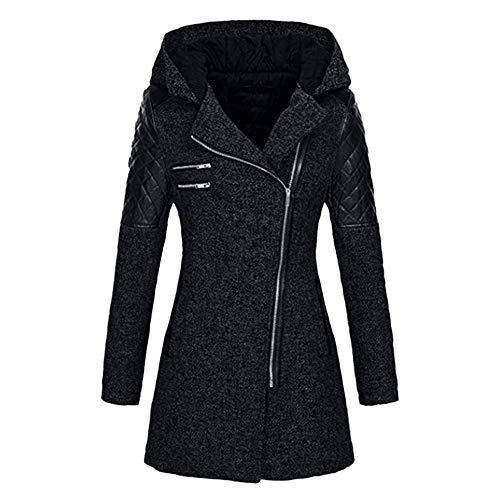 Susenstone Femme Manteau Grand Taille Hiver Chaud à Capuche Pas Cher à La Mode Zippé Hooded Patchwork Jacket Parka Coat (5XL(EU48), Noir)