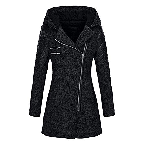 TEBAISE Wintermantel Damen Mantel Jacken mit Kapuze Revers Warmer Winterjacke Zipper Winter Outwear Slim Dicke Parka Kapuzenjacke Übergangsjacke 2019 Winter Trenchcoat S-5XL mit schrägem Zipper