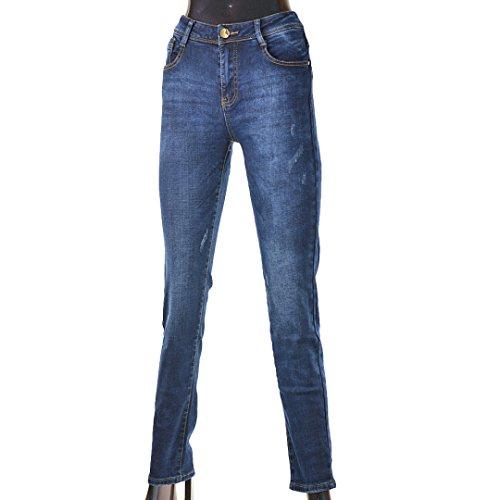 Moon Girl Damen Jeans Hose Winterhose Thermohose Winterjeans Fleece Gefüttert W29-36 Blau4 (W32)