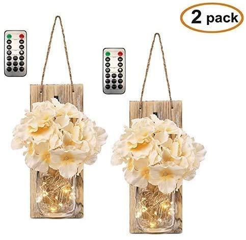 2er-Pack Mason Jar Wandlampen + 6 Modi Timer-Fernbedienung/Vintage hängende LED-Fee-Schnur-Licht + künstliche Blumen for Festoon Party/Garten/Weihnachten/Terrasse/Hochzeitsdeko