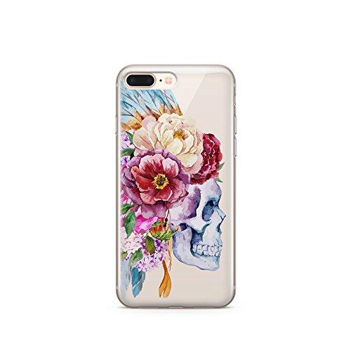 Coovertify Pack Funda Transparente Indian Flowers Skull iPhone 6/6S, Carcasa de Gel Silicona con Dibujo Estampado + Protector de Pantalla de Cristal Templado para Apple iPhone 6 6S (4,7')