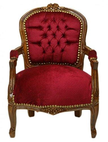 Casa Padrino Barock Kinder Stuhl Bordeaux Rot/Braun - Kindermöbel