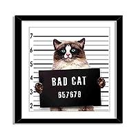 装飾画-逮捕された刑務所の囚人二日酔いの芸術的な仕事の下で刑務所のキティの悪いギャング猫,アート絵画、装飾フォトフレーム、インテリアアート、木製フォトフレーム。8x8インチ(額縁付き)