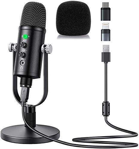 Desktop USB Kondensator Mikrofon für Streaming (Leistungsstarke Geräuschreduzierungsfunktion, Superniere Aufnahmemuster, latenzfrei, Stumm-Taste, Kopfhörer-Anschluss) (Ohne Blowout-Schutznetz)