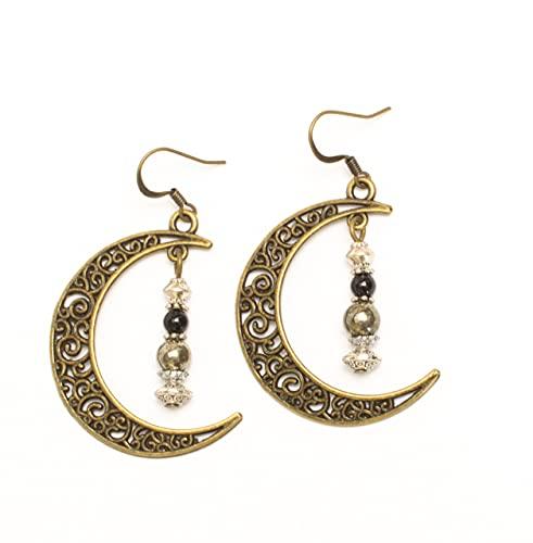 Kimaya Bijoux - Pendientes artesanales pirita, ónix grandes lunas bronce