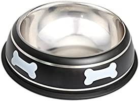 HOUZE Pet Steel Bowl, 26cm, Black