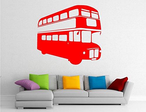 Bus Rouge Londres Moderne Art Mural Autocollant en Vinyle Autocollant Transfert, Red, Small 53cm x 57cm