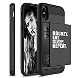 Wallet Credit Card ID Holder Shockproof Protective Hard Case Cover for Apple iPhone Hockey Eat Sleep Repeat (Black, for Apple iPhone XR)