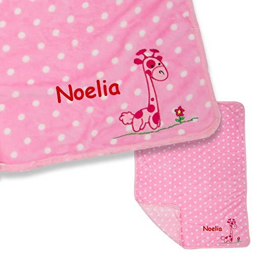 LALALO Giraffe meisje babydeken met naam geborduurd in roze/roze, pluche deken, gepersonaliseerde knuffeldeken met naam voor baby's als geschenk voor geboorte, verjaardag & doop, 100x80 cm