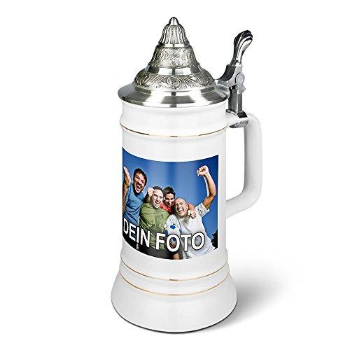 PhotoFancy® - Bierkrug mit Foto Bedrucken - Krug Personalisieren - Humpen mit eigenem Motiv selbst gestalten (Ständerkrug mit Zinndeckel 0,75 L)