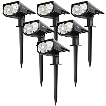 LITOM 12 LEDs Spotlights IP67 Waterproof Powered Wall 2-in-1 Wireless Outdoor Solar Landscaping Lights for Yard Garden Driveway Porch Walkway Pool Patio 6 Pack Cold White