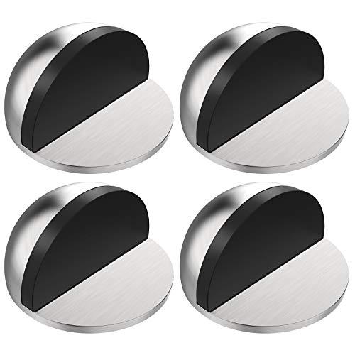 ACGAM Edelstahl Boden Türstopper Selbstklebender, Metall Magnet Türstopper für Glastüren Balkontüren 4er Set, 2 Installationsmethoden Bodentürstopper mit Schrauben und Klebstoffen (Silber)