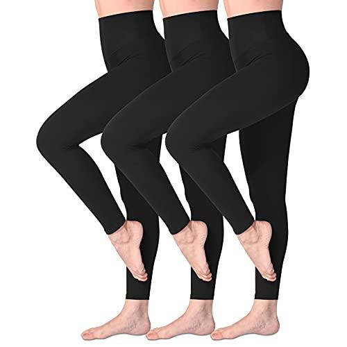 SINOPHANT Hochtaillierte Leggings für Damen - Angenehm Weiche Elastische, Dehnbare Sport- und Yogahosen , 3er Pack Schwarz, S-L (Herstellergröße: ONE SIZE)