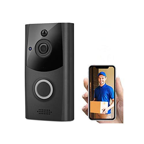 Prtukytt Wi-Fi video deurbel, 1080p HD 166 graden groothoek draadloze camera (met infrarood en nachtzicht), PIR-bewegingsdetectie voor interne veiligheid