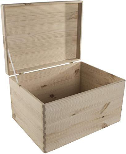 Caja de almacenamiento grande de madera sin acabar para manualidades, 39 5 x 29 5 x 13 5 cm, tapa abatible de madera de pino, recordatorio