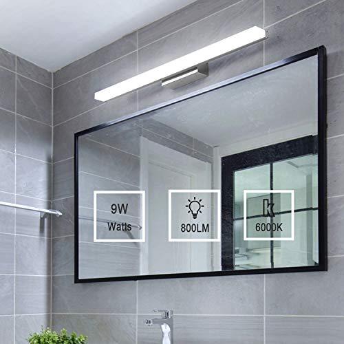 Yafido LED Spiegelleuchte Badleuchte Badlampe Spiegellampe 40CM Kaltweiß badezimmer lampe Wandleuchte 230V 9W 6000K Schrankleuchte 800Lumen Nicht-dimmbar