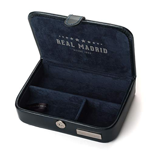 Real Madrid - Estuche de Viaje Hecho a Mano con Piel Pequeños Accesorios. Color Azul RMJ-80008