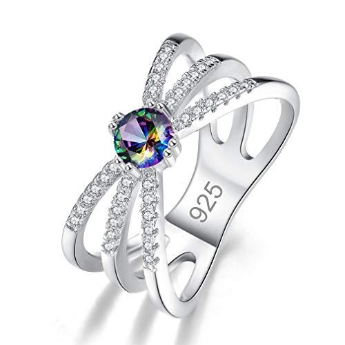 Yazilind Ringe für Frauen Silber Runde Zirkonia Ringe Shiny Women Rings Stylish Rings # 1 18.1