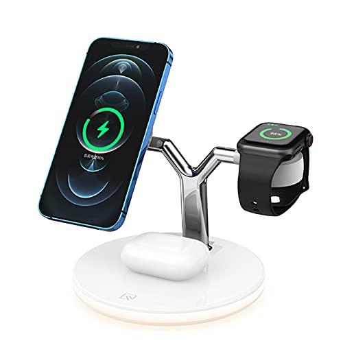 LTLJX Cargador Inalámbrico, 7.5 W Cargador Doméstico 3 en 1 para iPhone 12,12 Pro, Samsung Galaxy S10 S9 S8, Soporte de Carga Inalámbrico para Apple Watch y AirPods Pro,Blanco